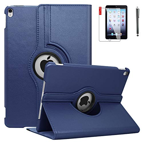 iPad Case 6th Generation with Screen Protector and Stylus - iPad 9.7 inch Air1 2018 2017 Case Cover - 360 Degree Rotating Stand, Auto Sleep Wake - A1822 A1823 (A6 - Blue)