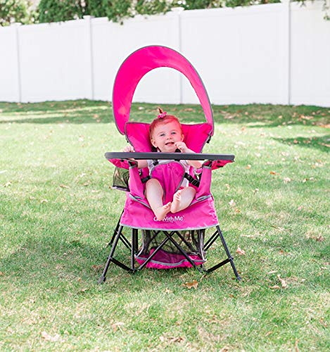 Baby Delight Go with Me Chair | Indoor/Outdoor Chair with Sun Canopy | Pink | Portable Chair converts to 3 Child Growth Stages: Sitting, Standing and Big Kid | 3 Months to 75 lbs | Weather Resistant