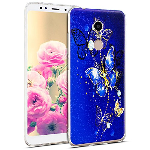 Uposao Kompatibel mit Hülle Xiaomi Redmi 5 Silikon Handyhüllen Schöne Muster Durchsichtige Ultradünn Schutzhülle Transparent Silikon Bumper Clear Backcover,Glitter Schmetterling