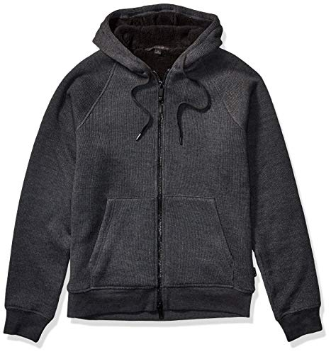 John Varvatos Star USA Men's Trenton Sherpa Lined Knit Full Zip Hood, Charcoal, XL