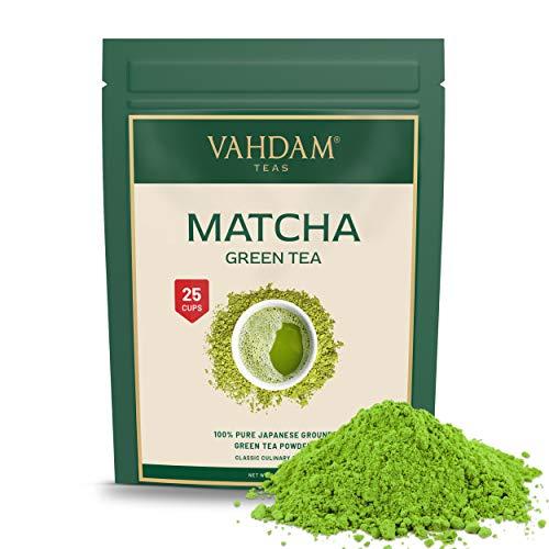 VAHDAM, polvo de te verde Matcha (50 g, 25 tazas), polvo de Matcha japones puro y sin mezclar 100% certificado | 137x Anti-OXIDANTES | Aumenta la energia, el enfoque y el metabolismo.