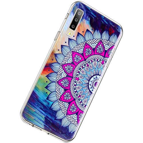 Herbests Kompatibel mit Samsung Galaxy A7 2018 Hülle Silikon Ultra Dünn Handyhülle Luminous Leuchtend Soft TPU Schutzhülle Crystal Silikon Kristall Durchsichtige Hülle Case,Mandala Blumen