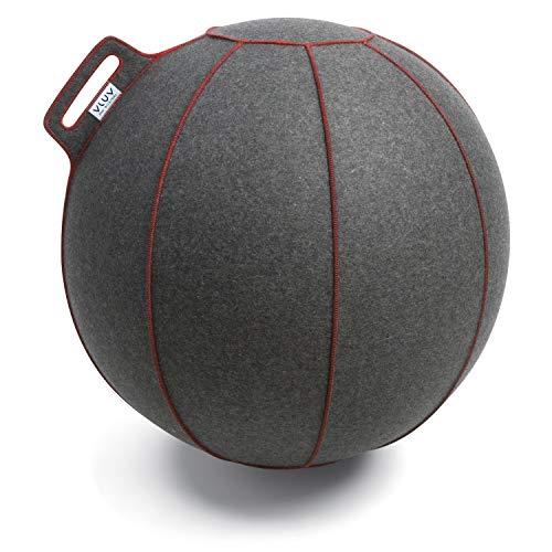 VLUV VELT Filz-Sitzball, ergonomisches Sitzmöbel für Büro und Zuhause, Farbe: Grau-Melange/Rot, Ø 60cm - 65cm, 100{19fb260a7d30a48a86a2e649d0b35c059f87a4eb8e8756775f48fbd8508af044} Merino Wollfilz, robust und formstabil, mit Tragegriff