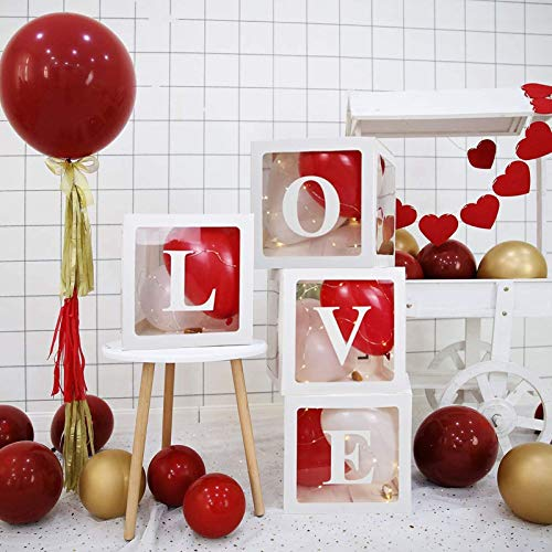 21 pcs Transparent Decorations Boxes Girl Balloon Box Set, for Wedding/Birthday party/Travel Themed Party/Baby Shower Christmas Decoration with 8 balloon 4 letter 4 Fairy Lights 4 box