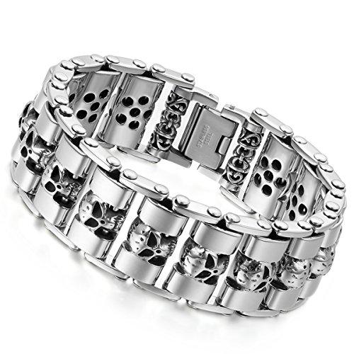 Flongo Herren-Armband Männer Armband, Große Schwer Breit Edelstahl Armband Link Handgelenk Silber Schwarz Gold Totenkopf Schädel Motorradfahrer Biker Herren-Accessoires