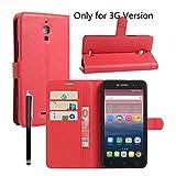 Owbb Folio Brieftasche Ledertasche für Alcatel Onetouch Pixi 4 (Nur für die 3G-Version) 6.0 Zoll Smartphone mit Ständerfunktion & card holder-Rot