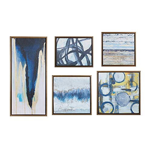 Madison Park Wall Deco Bronze Blue Bliss Galary 5-Piece Set, Canvas in Decor Boxes, Abstract Style...