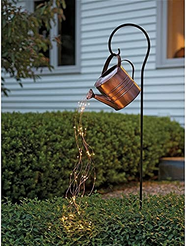 SKYWPOJU Star Shower Garden Art Light Decoration, Butterfly/Ladybug/Elephant Led String Lights Garden Solar Lights, Waterproof Watering Can Fairy Light Shape Light with Bracket (Size : B)