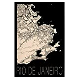artboxONE Poster 90x60 cm Städte Retro Map of Rio de