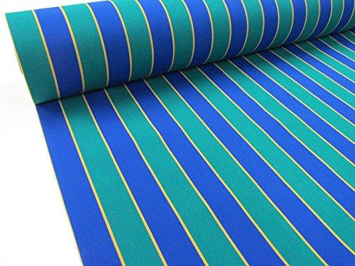 Confección Saymi Metraje 0,50 MTS. Tejido Lona acrílica, Raya Azul-Verde, con Ancho 3,20 MTS.