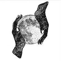 黒白惑星in手愛ポスター月壁アートパネル写真北欧宇宙地球絵画インテリアリビング部屋寝室装飾キャンバスプリント40x40cmいいえフレーム