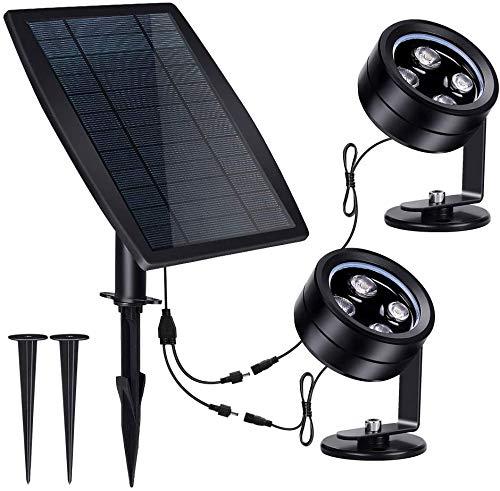 Solar Unterwasser Spot Licht, IP68 Wasserdichte solarbetriebene Landschaftsscheinwerfer 3-in-1 Wireless Outdoor Solar Landschaftsbau Licht...