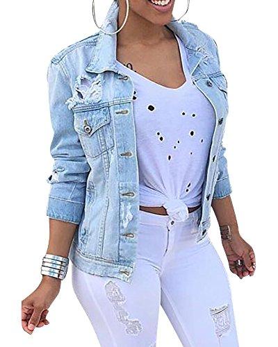 MISSMAO Damen Herbstmode Denim Jacket Jeansjacke Beiläufige Outwear Jeans Mantel Hellblau L