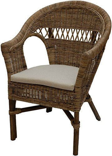 Stapelbarer Rattansessel mit Sitzpolster Korbsessel aus echtem Rattan im Landhaus Stil (Natur Grau)