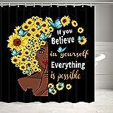 Duschvorhang, afrikanische Frauen mit Sonnenblumen, Schmetterlingen & inspirierenden Zitaten, Duschvorhang für Badezimmer, Stoff, Badezimmer, Set mit 12 Haken (schwarz, 170 cm breit x 170 cm lang)