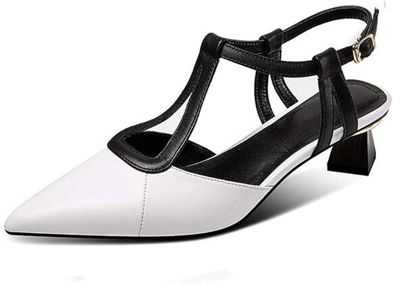 DALL Schuhe Sandalen Frauen Spitzschuh Heels Pumps Mode Hochzeit Braut Hohle Dicke Fersenschuhe (Farbe   Weiß, Größe   EU 35 UK 3.5 CN 35)
