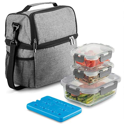 Insulated 2-Compartment Meal Prep Lunch Bag with Ice Pack & Glass Food Containers with Lids- Shoulder Strap Lunch Tote for Men & Women- Leak Proof Lunch Box Set, Cool Lunch Bag for Work, Office School