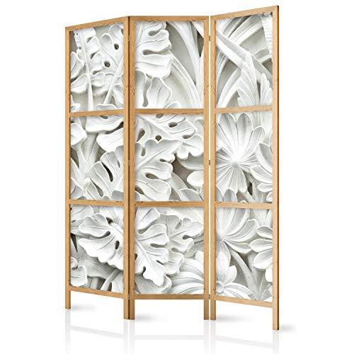 murando - Paravent Blätter 3D Effekt 135x171 cm 3-teilig einseitig eleganter Sichtschutz Raumteiler Trennwand Raumtrenner Holz Design Motiv Deko Home Office Japan f-B-0265-z-b