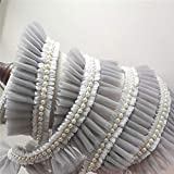 Bene Omnia 6 cm con volantes de encaje de tul plisado, con borde de malla de encaje de perlas, para hacer muñecas, tortas de boda, vestido de tul con diseño de vestido de 2 yardas, 8 gris