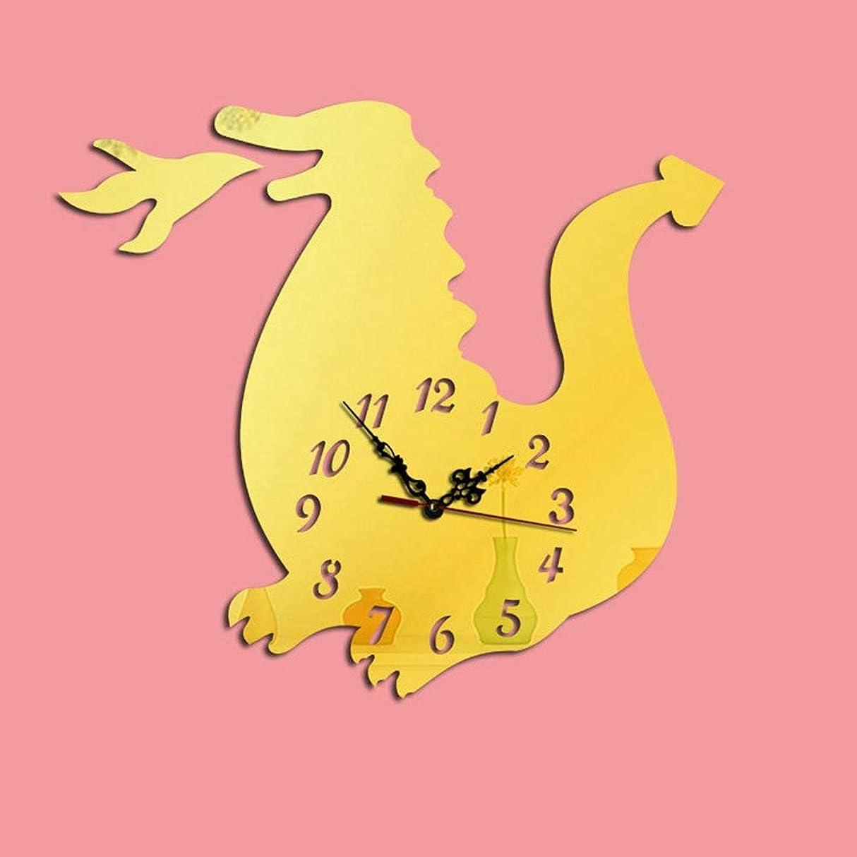 誤仕事に行く秋WCH Diyアート大壁時計ステッカー付き3dアクリルミラーウォールステッカー用リビングルーム寝室キッチンオフィス保育園装飾 (Color : Gold)