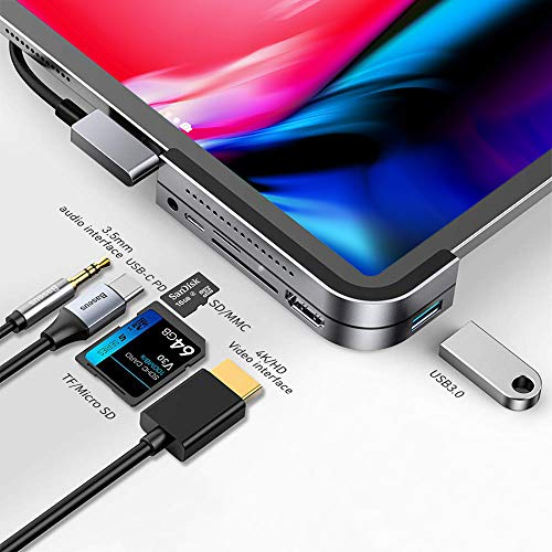 USB C Hub for iPad Pro 2018 2019 2020, Baseus 6 in 1 USB C to 4K HDMI Adapter, PD 100W Power Delivery, USB3.0, SD/TF Card Reader, 3.5mm Headphone Jack Compatible with MacBook Pro/iPad Pro - Grey