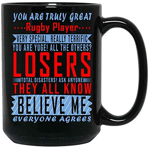 The Time Warden Gifts for Sports Lovers - Great Rugby Player Coffee Mug Ceramic (Black, 15 OZ)