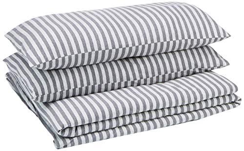 AmazonBasics - Set copripiumino in tessuto Jersey, motivo a strisce - 260 x 220 cm / 50 x 80 cm, Grigio chiaro