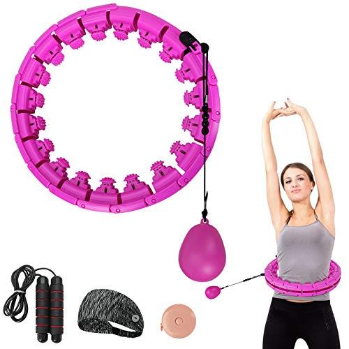 Jooheli Smart Hula Hoops,Hula Hoop Fitness 24 Secciones Ajustable Hula Hoop Smart Fitness y Masaje Hula Hoops Aro Hula Inteligente Pesado,para Adultos y Niños,Principiantes