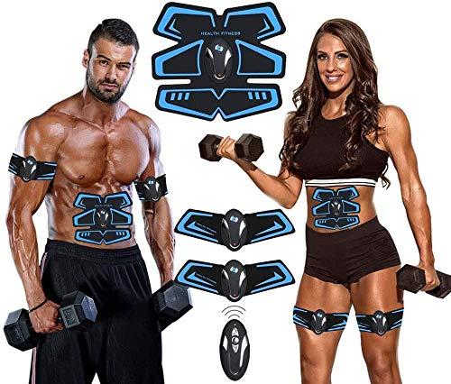 【La última Versión 2018】Electroestimulador Muscular Abdominales Cinturón, Masajeador Eléctrico Cinturón,Ejercitador del Cuerpo de los Músculos de Brazos y piernas para Hombre o Mujer