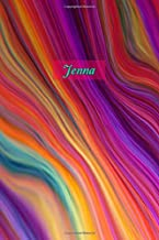 Jenna: Personalized Journal | Custom Name Journal – Rainbow Marble - Journal for Girls - 6 x 9 Sized, 110 Pages - Personalized Journal for Women - ... Gift for Teachers, Granddaughters and Friends