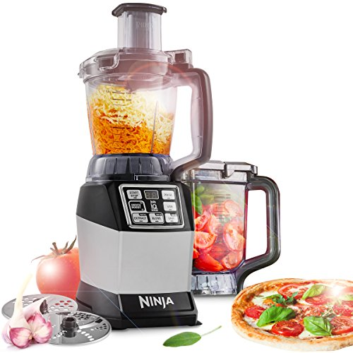 Ninja BL490EU2 Kompakt Küchenmaschine (1.200 Watt, Total Crushing Klingen Präzisions Klingen Knethaken, Standmixer Smoothie Maker Knetmaschine Multizerkleinerer mit Auto IQ-One-Touch-Intelligence)