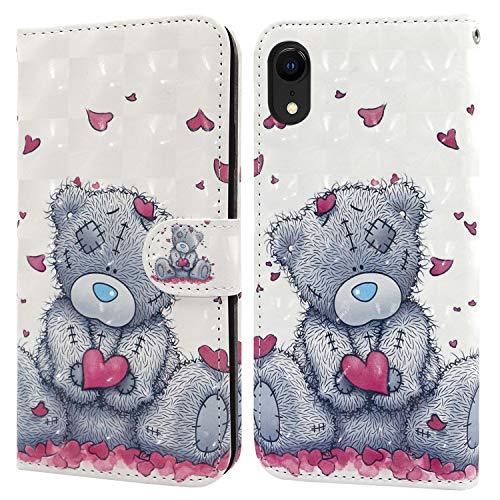 Ailisi Cover iPhone XR, 3D Flip Cover Cartoon Cute Love Heart Teddy Bear Custodia Protettiva Caso Libro Pelle PU con Portafoglio, Funzione Supporto, Chiusura Magnetica
