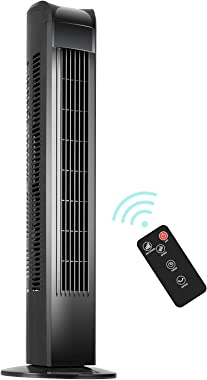KEGIAN Oscillating Tower Fan with Remote, Electric Standing Floor Fan 3 Wind Speeds 3 Modes, Quiet Cooling Portable for Bedro