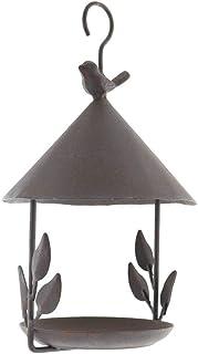 niumanery Creative Steel Wire Exquisite Small House Shape Bird Feeder Outdoor Balcony