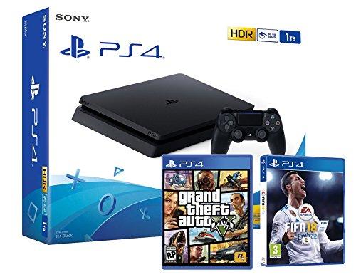 PS4 Slim 1Tb Negra Playstation 4 Consola - Pack 2 Juegos - FIFA 18 + GTA V