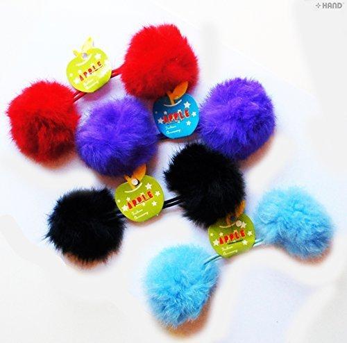 Farblich soritert schöne doppelte Pom Pom Haarreifen, dekorative Puschel mit Band - 5,08 cm Pom Pom - 4 Stück