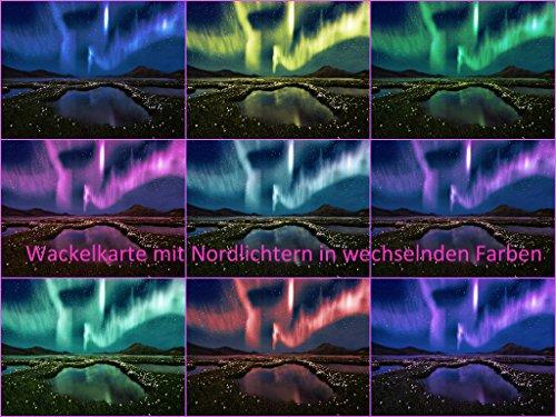 3D-Postkarte mit Wackelbild Nordlichter (Polarlicht, Aurora Borealis)