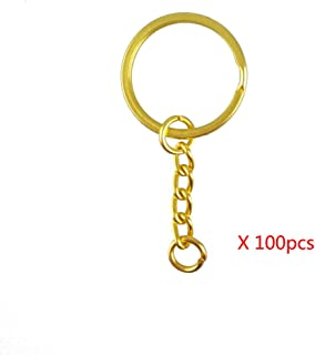 """yueton Pack of 100 25mm/0.98"""" Metal Split Key Ring with Chain (Gold)"""