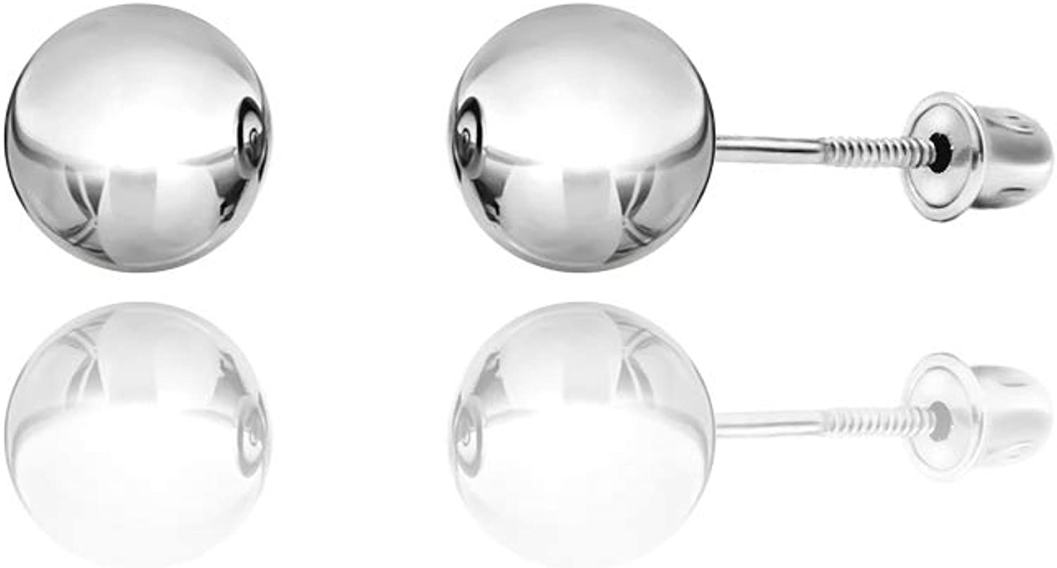 14kt White Gold Balls Stud Earrings with Screwback