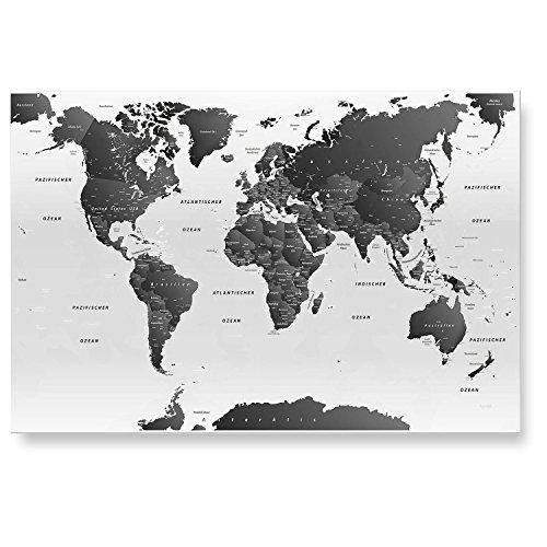 LanaKK - magnetisches Glasbild Weltkarte SW hell Weltkarte - deutsch - edler Glas-Kunstdruck hinter 4 mm starkem geschliffenem Glas – magnetische Pinnwand in weiß in 100 x 70 cm