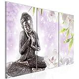 Runa Art Feng Shui 019132c - Cuadro de pared (3 piezas), diseño de Buda, color gris y rosa