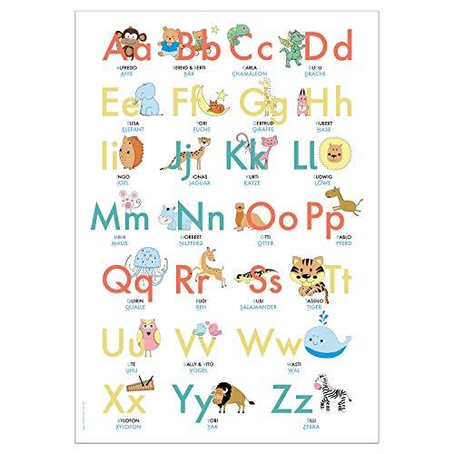 ABC Poster 70,7x100 cm | Alphabet spielerisch mit Tieren lernen | Das ABC-Lernposter mit Groß- und Kleinbuchstaben |: ABC-Plakat fürs Kinderzimmer im DIN B1 Format
