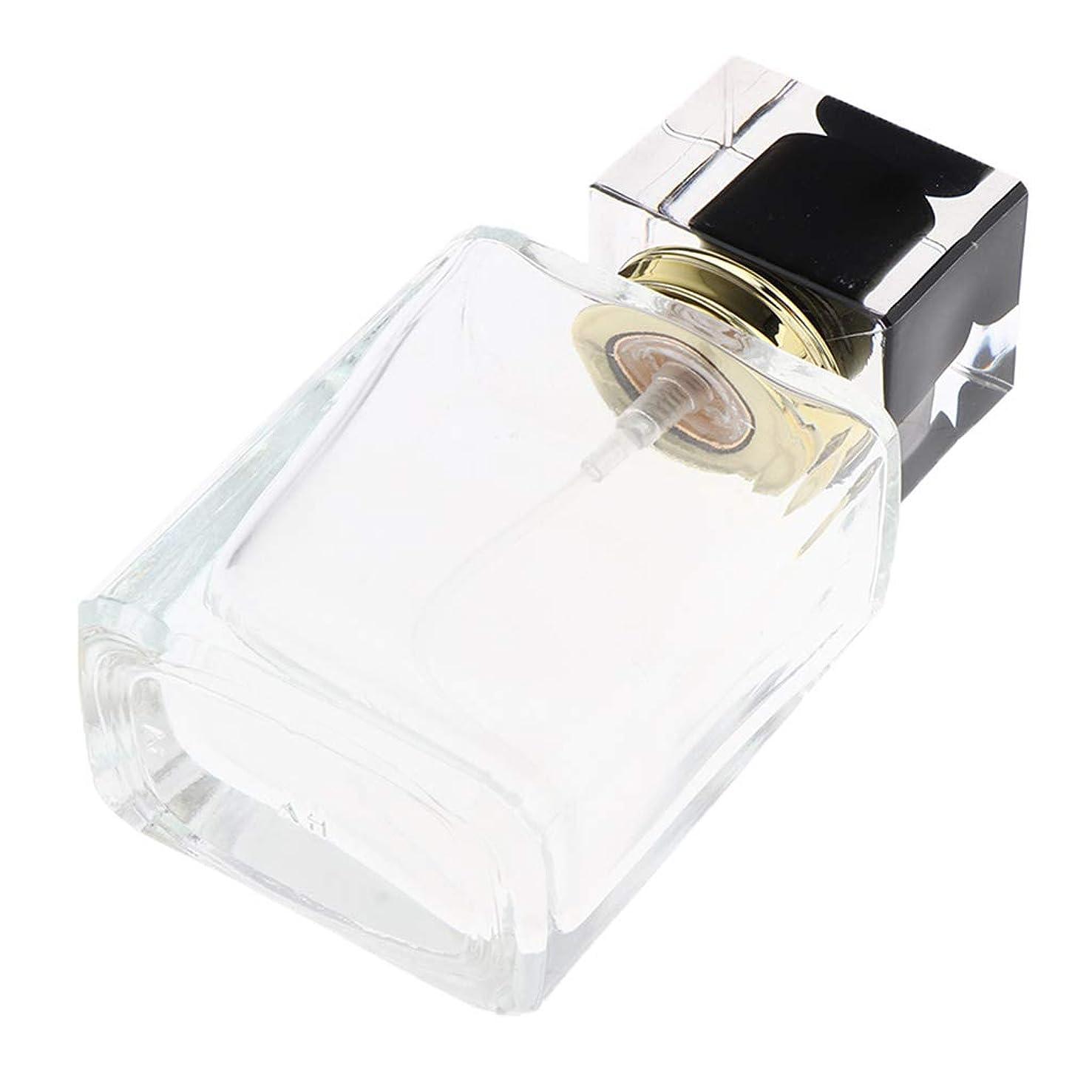 教室テスピアンポルティコCUTICATE 香水瓶 スプレー 香水瓶 ポンプ式 香水ボトル 50ml 正方形 詰め替え容器 通勤/旅行/出張 全5種 - ブラックキャップ