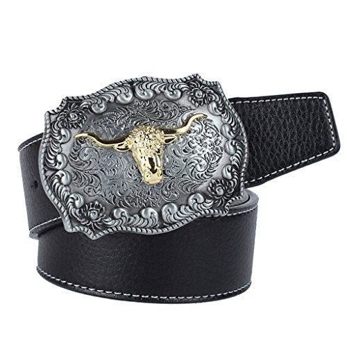 MagiDeal Cinturón de Estilo Vintage para Hombres Ornamento para Pantalones Vaqueros - negro, hebilla cabeza de toro