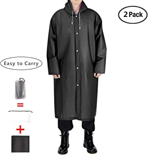 EVA Portable Raincoat,Reusable Rain Poncho with Hoods and Sleeves,Non-Toxic,No Plastic Smell,Environmentally Friendly,Light Weight and Perfect for Outdoor Activities