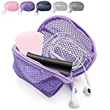 Kalevel Cosmetic Sponge Travel Case Zippered Makeup Pouch Small Mesh Beauty Bag with Keyring for Lipsticks Earphones Coins (Purple)