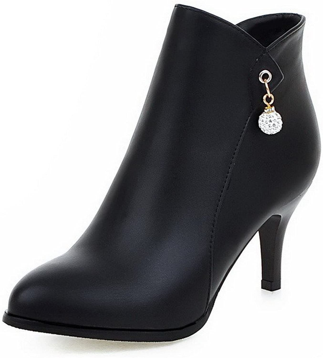 AmoonyFashion Women's High-Heels Soft Material Low-Top Solid Zipper Boots with Charms