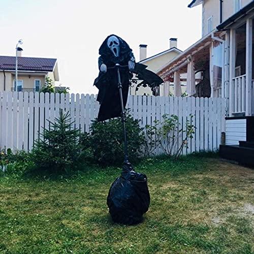 Ghostface Scarecrow Halloween Ghostface Vogelscheuche Dekoration Unique Scream Folge der Brise Ghostface Horror Kreative Scary Garten Statue Figuren...