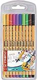 Stylo feutre pointe fine - STABILO Point 88 - Pochette de 10 stylos-feutres - Coloris assortis