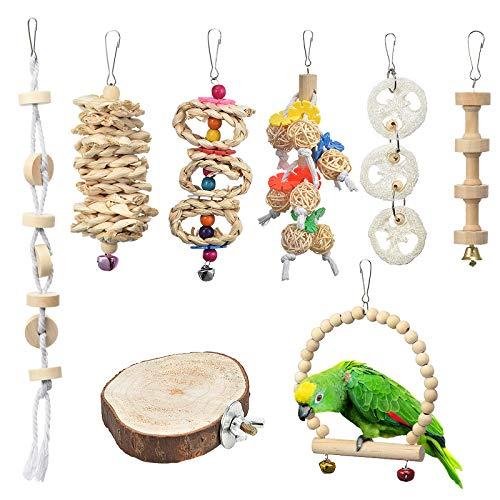Furpaw Giochi per Uccelli Pappagalli, 8 Pezzi Naturale Giocattolo per Uccellini in Legno, Appeso in Una Gabbia